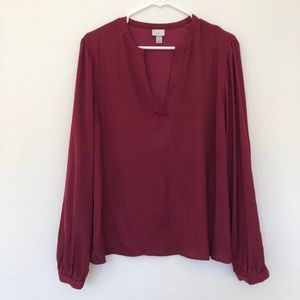 A New Day Burgundy Long Sleeve Blouse Large